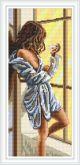 Алмазная вышивка Пано АП 016 20см*46,8см Девушка Лилии полная зашивка