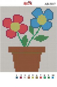 Алмазная вышивка АВ 5017 12,5*14,5см Горшочек с цветком полная зашивка
