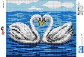 Алмазная вышивка АВ 4013 19*23см Лебеди полная зашивка