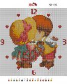 Алмазная вышивка АВ 4502 25*25см  Часы полная зашивка