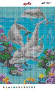 Алмазная вышивка АВ 3053 Дельфины полная зашивка