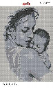 Алмазная вышивка АВ 3057 Мать и дитя полная зашивка