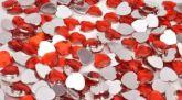 Камень клеевой сердечко красное  упаковка 500шт