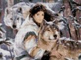 Алмазная вышивка АВ 2004 Волк полная зашивка