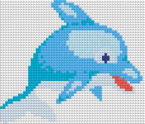 Алмазная вышивка АВ 5031 12,5*14,5см Дельфин полная зашивка