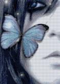 Алмазная вышивка АВ 3044 Девушка и бабочки  полная зашивка