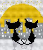 Алмазная вышивка АВ 5043 12,5*14,5см Коты полная зашивка